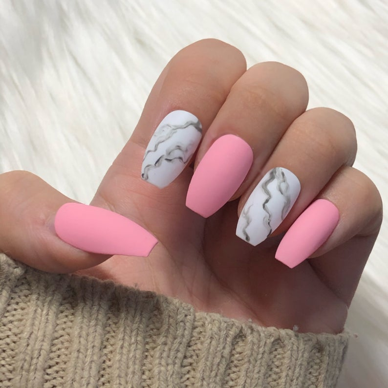 Pink and gray marble matte nails