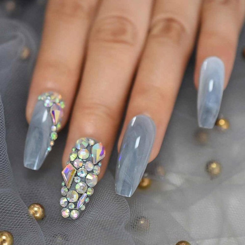 Grey marble and rhinestones design for coffin nails