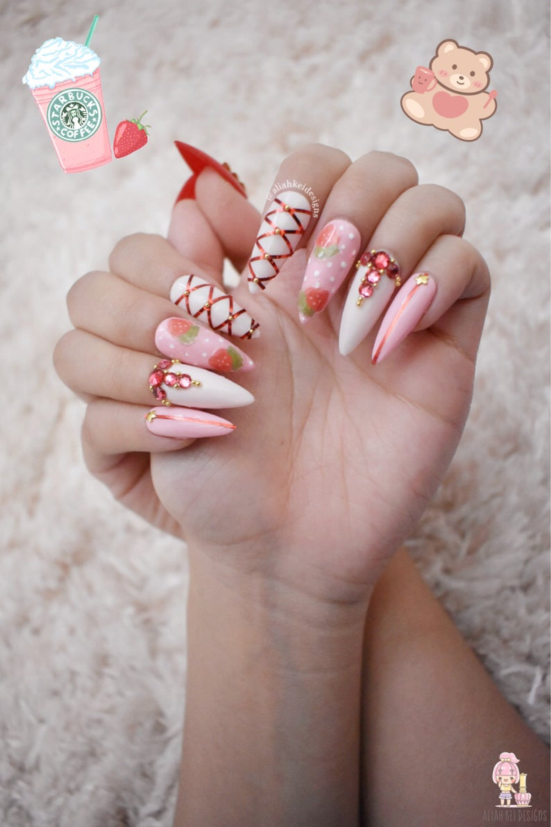 Pink strawberry themed cute and kawaii nail art