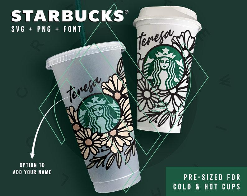 Personalized floral customized Starbucks design for tumblers