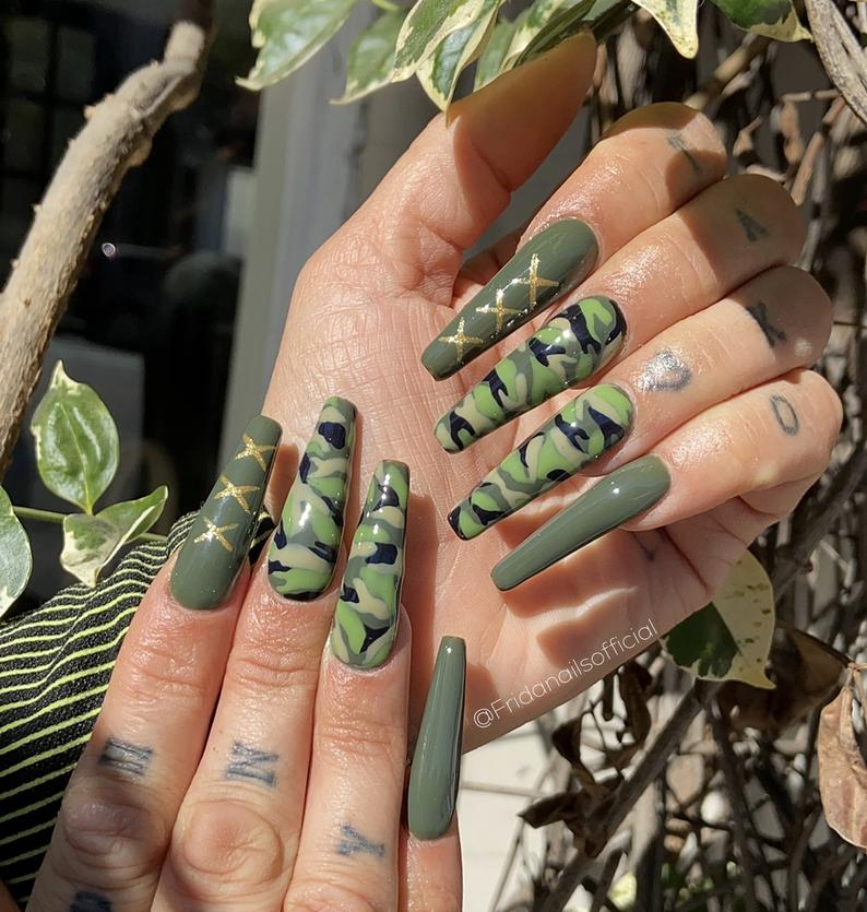 Camouflage army green coffin nails