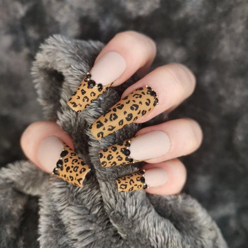 Leopard print tips with rhinestones