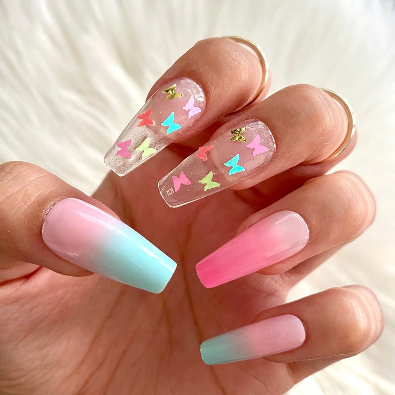 Pink and blue ombre with transparent design and butterflies for coffin nails