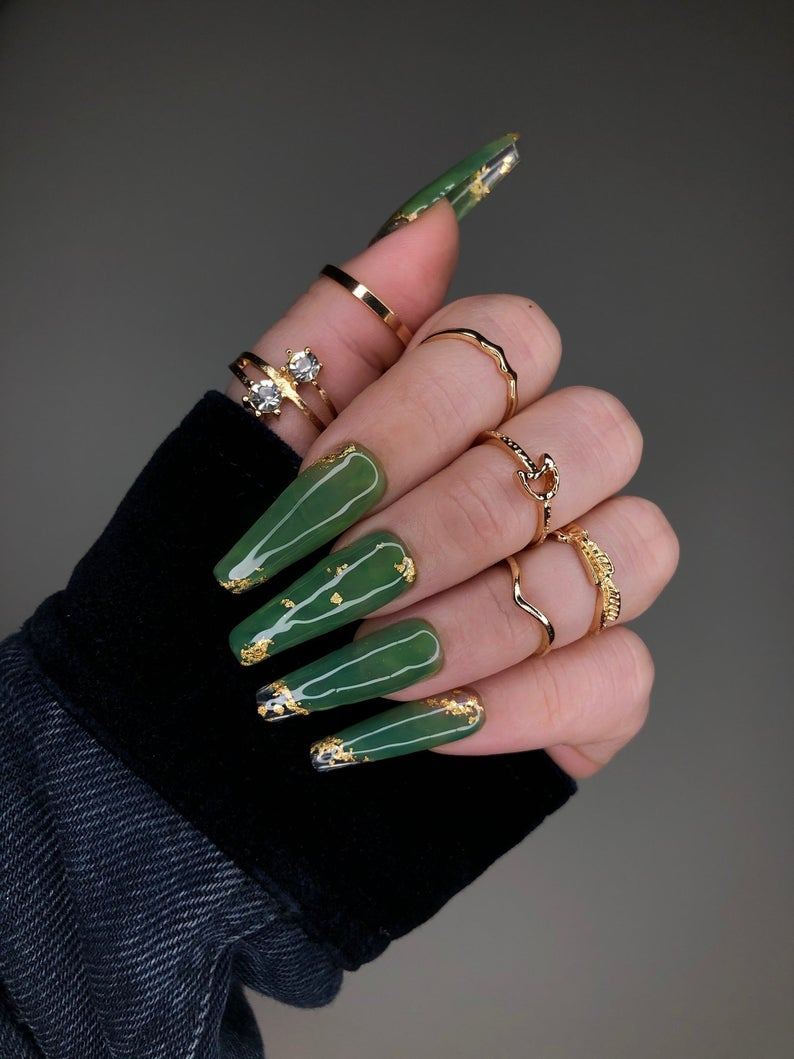 Jade green nails with gold flakes