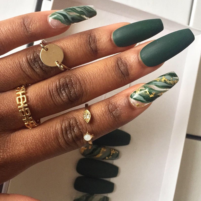 Emerald green nails with gold specks