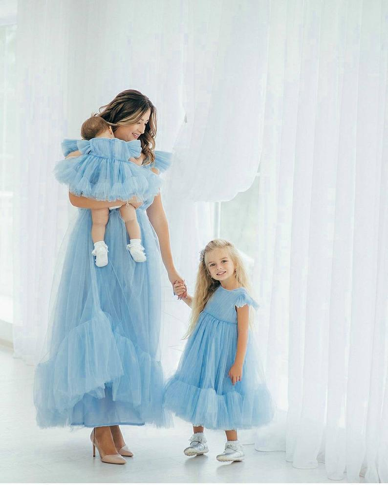 Blue tulle dress set mommy and me outfit