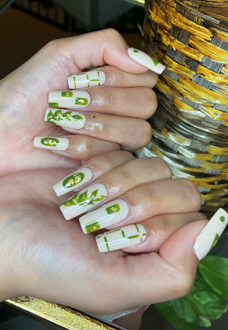 Tropical nude and green coffin nails