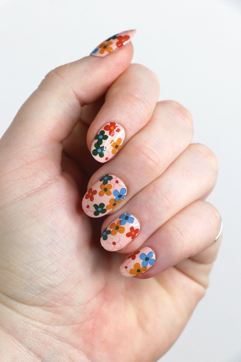 Cute nails featuring floral designs