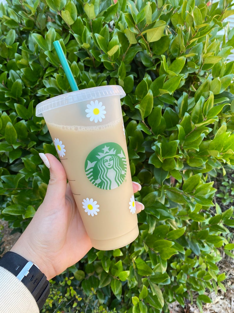 Daisies customized starbucks cup