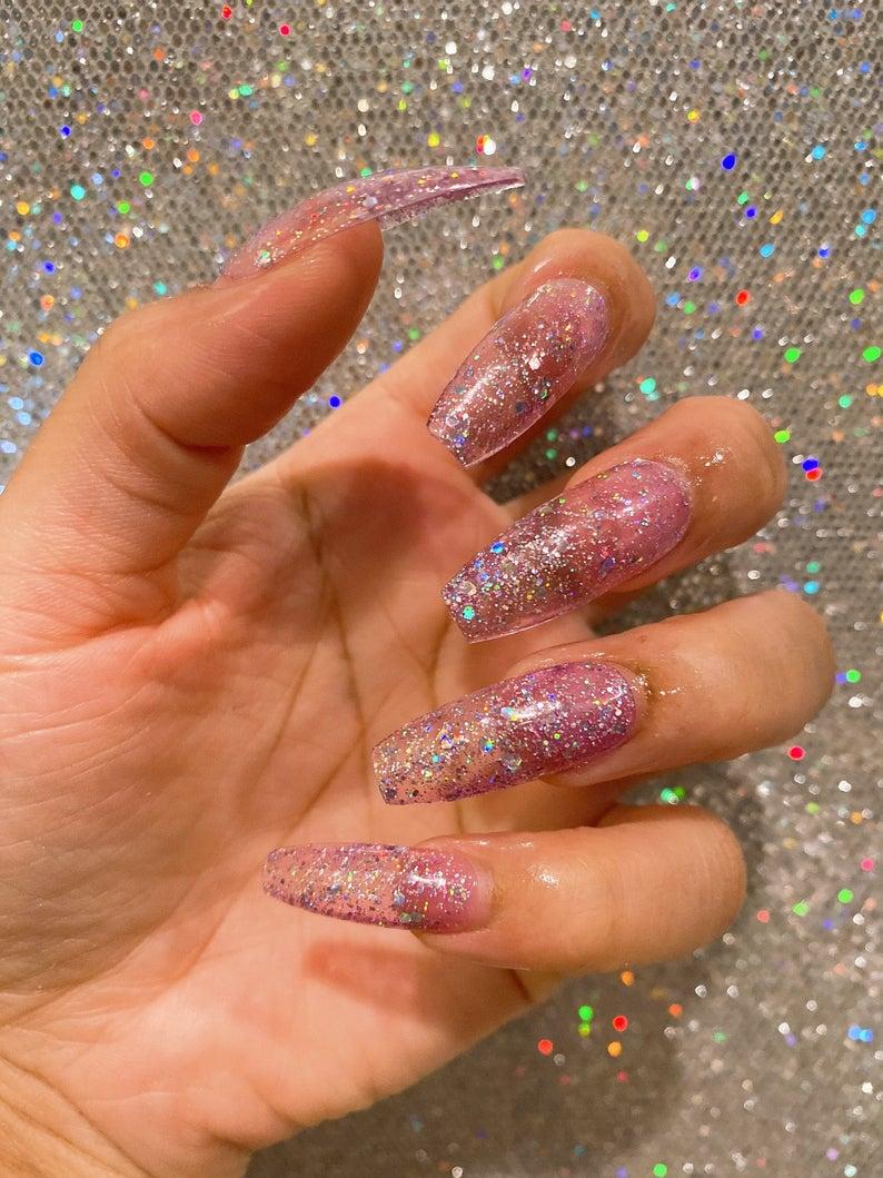 Transparent clear glitter nails