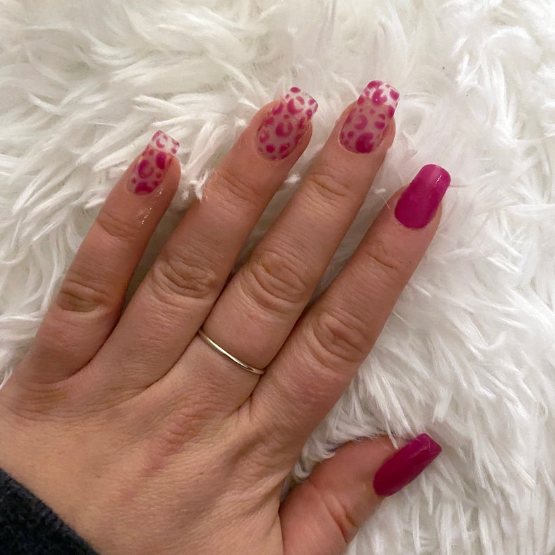 Clear pink leopard nails