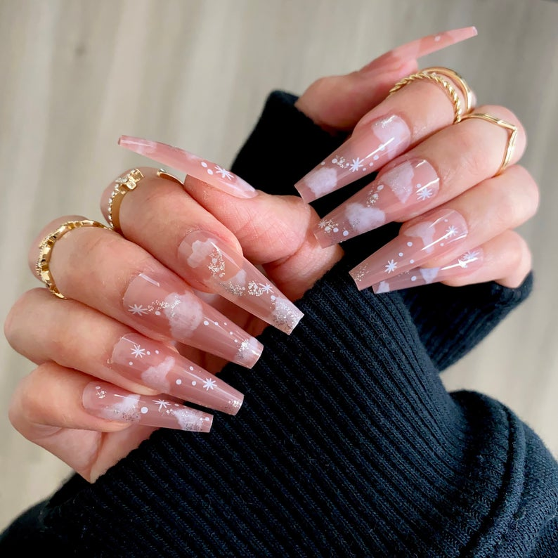 Clear nude nail desigs with clouds