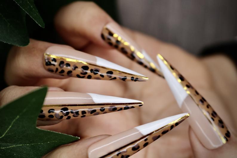 Brown leopard print stiletto nails