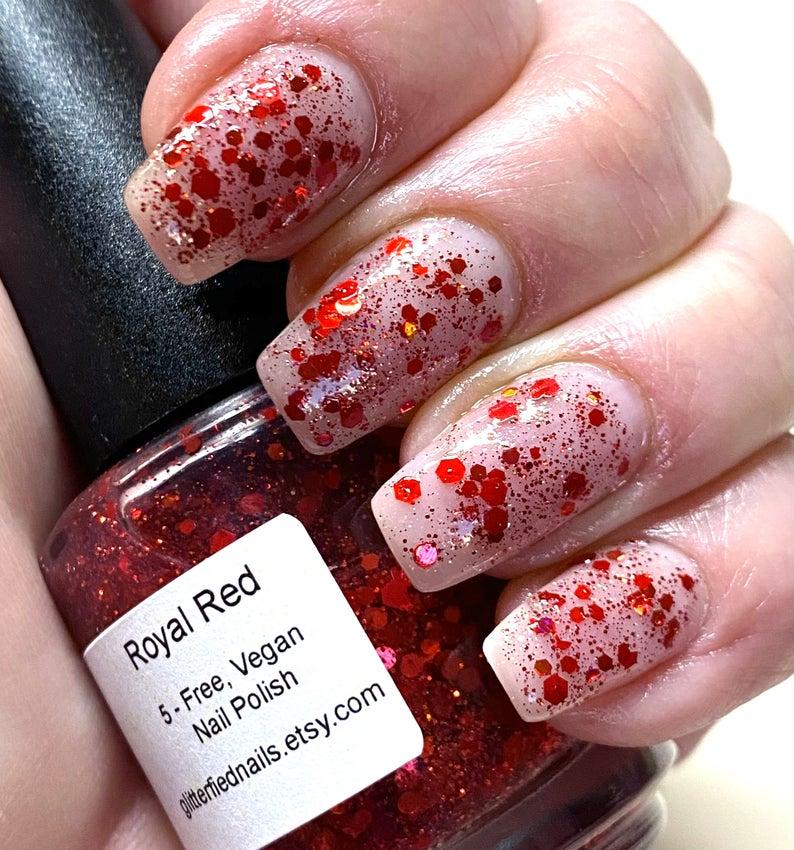 Royal red glitter nail polish