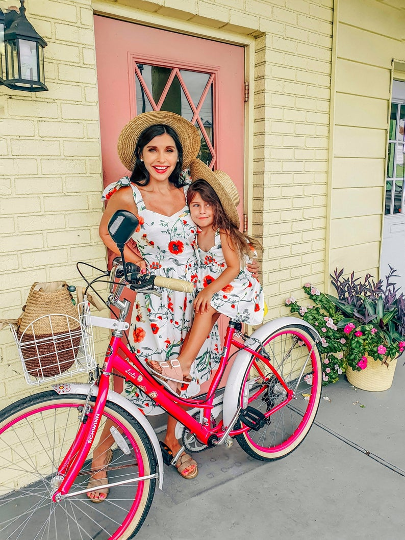 White and red floral sundress mommy and me outfit