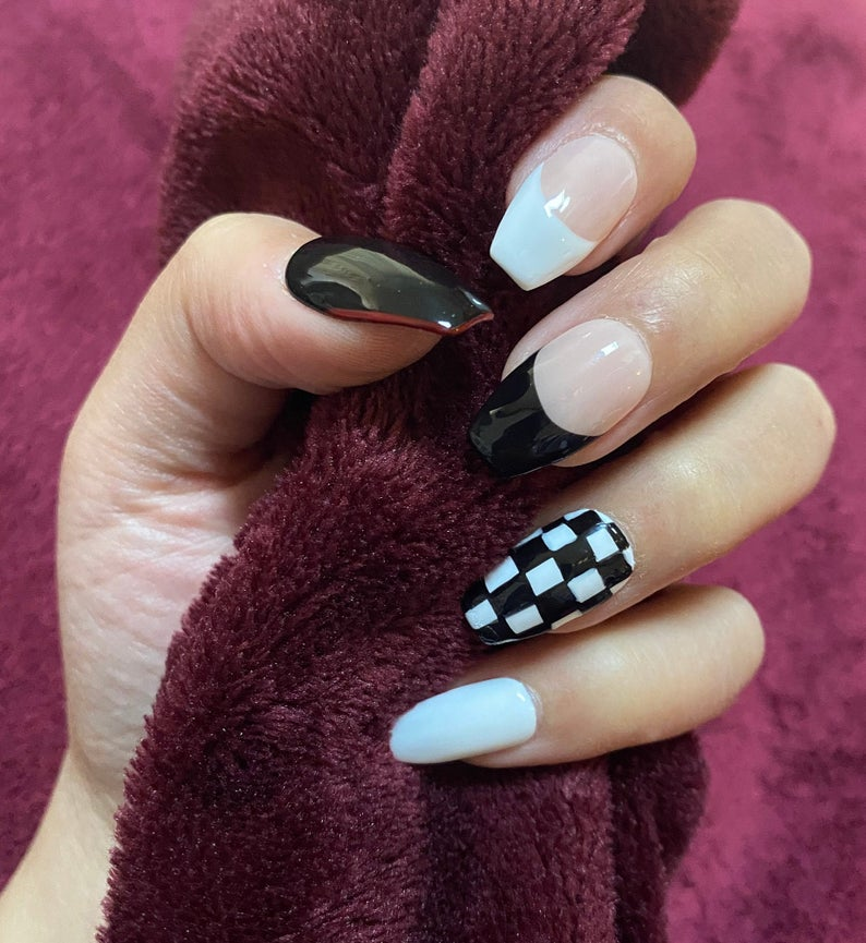 Black and white checkerboard nails