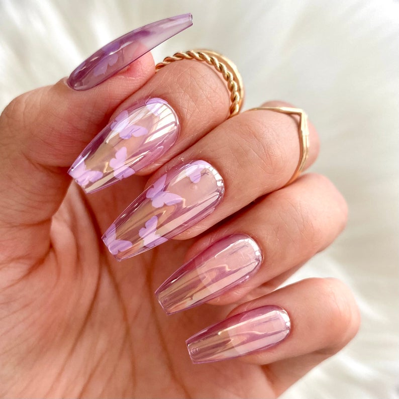 Holographic chrome butterfly design for coffin nails