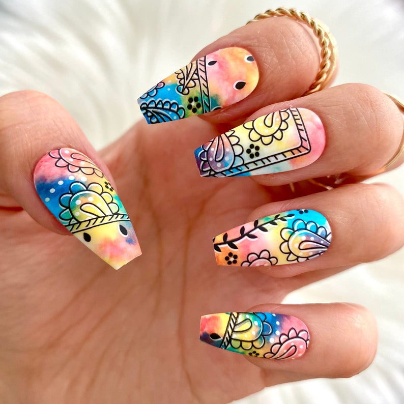 Watercolor with design for coffin nails