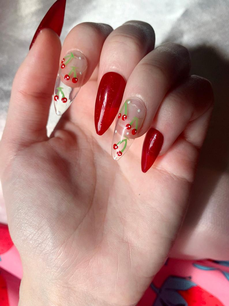Red nails and transparent cherry nails