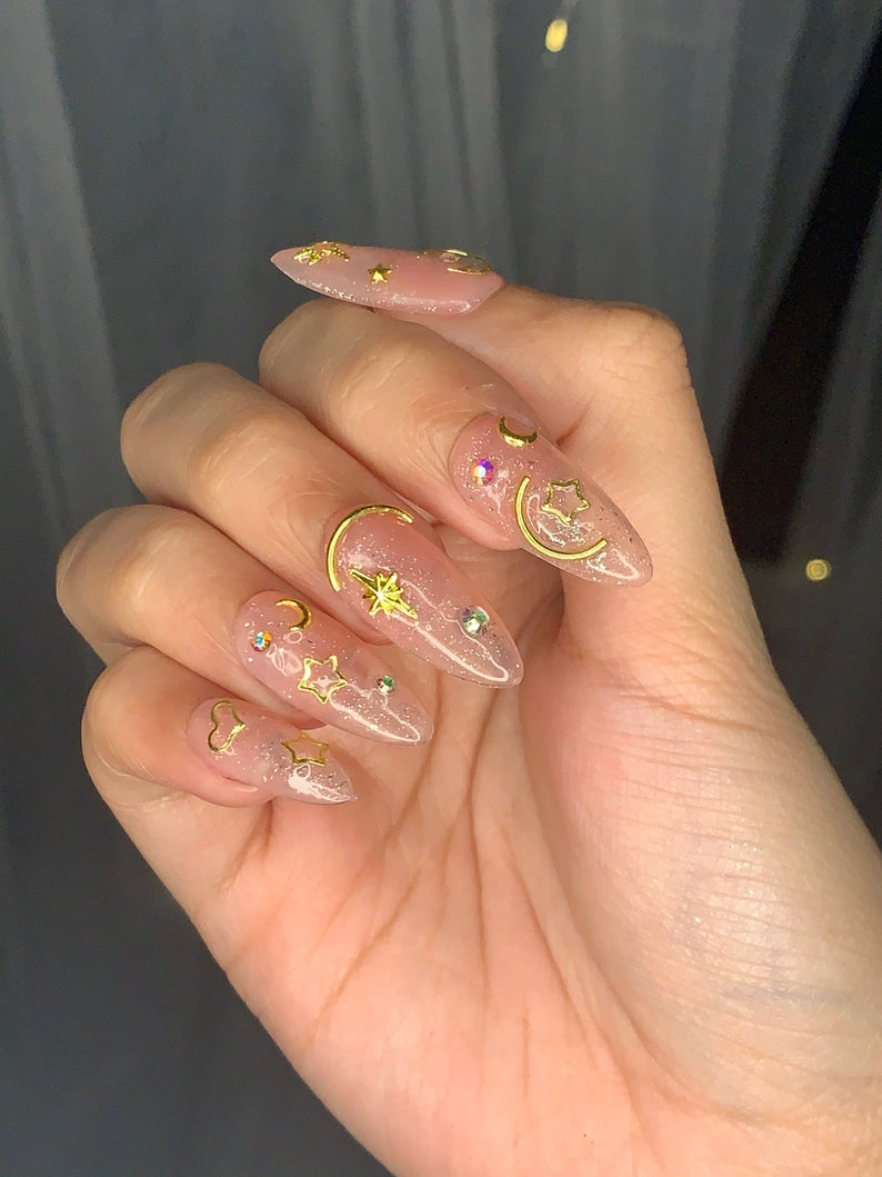 Transparent sailor moon nails with glitter