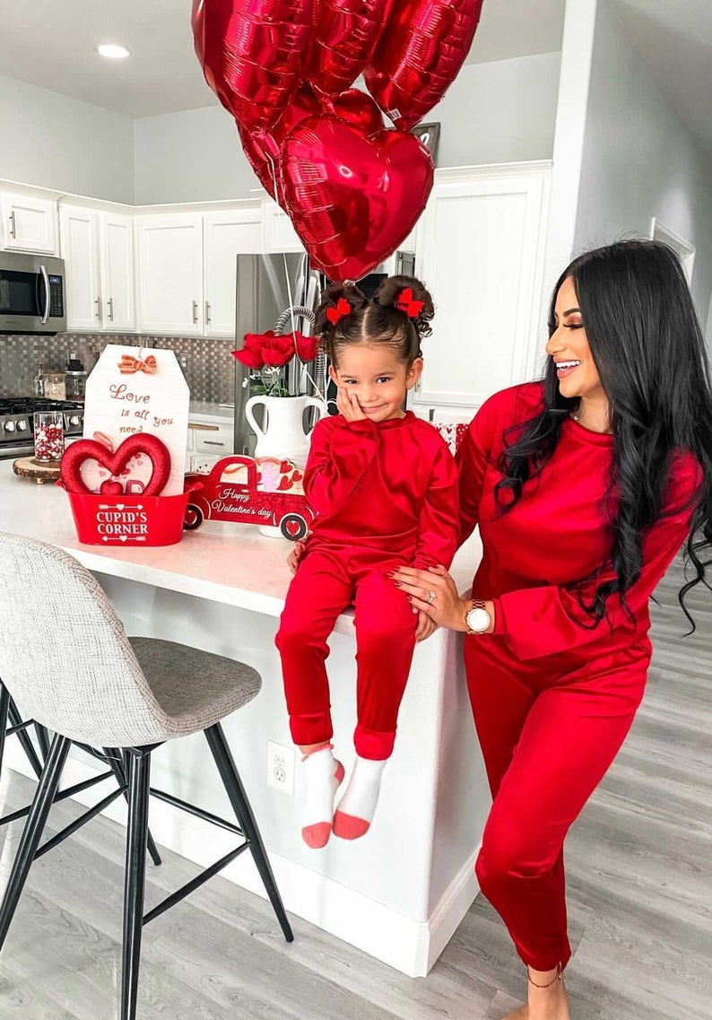 Satin red loungewear mommy and me outfit