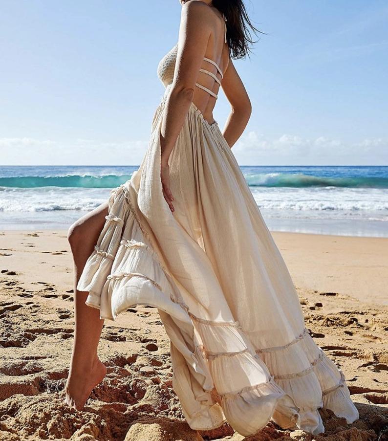 Backless beige summer maxi dress