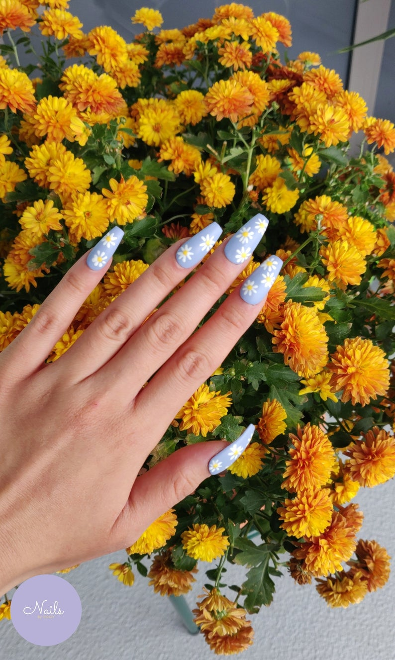Blue matte nails with daisies