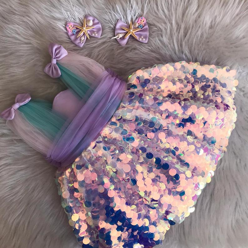 Purple tulle and sequin mermaid and unicorn dress for toddlers