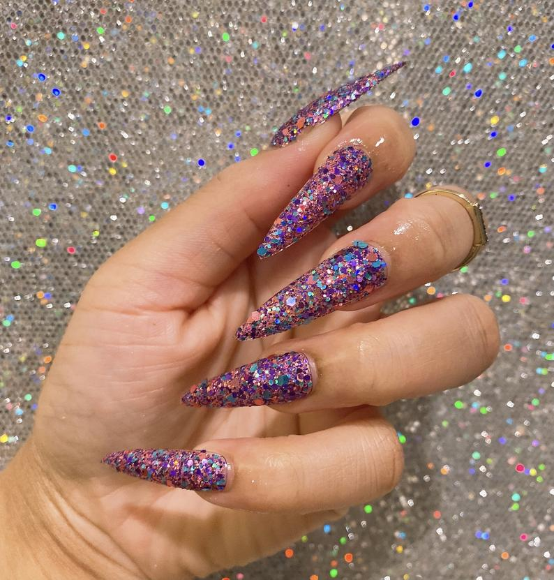 Holographic glitter stiletto nails