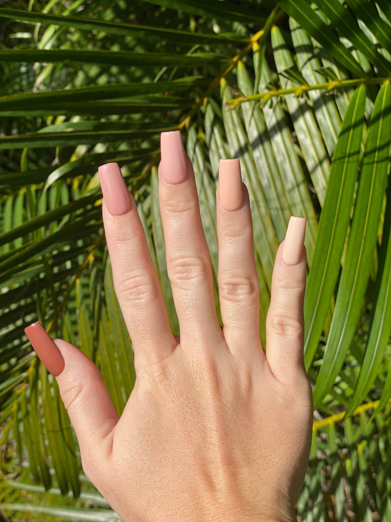 Nude nails with different shades
