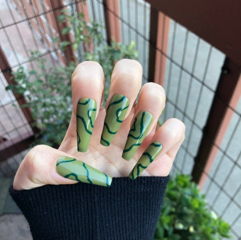 Army green abstract nails with swirls
