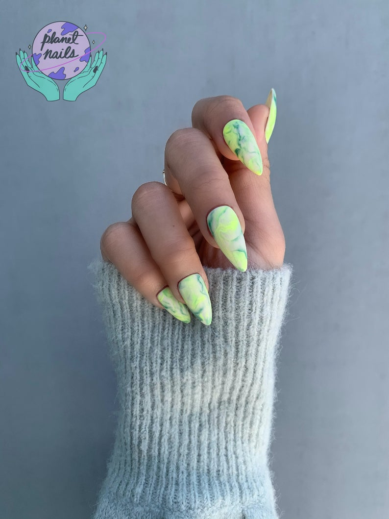 Marble almond green nails