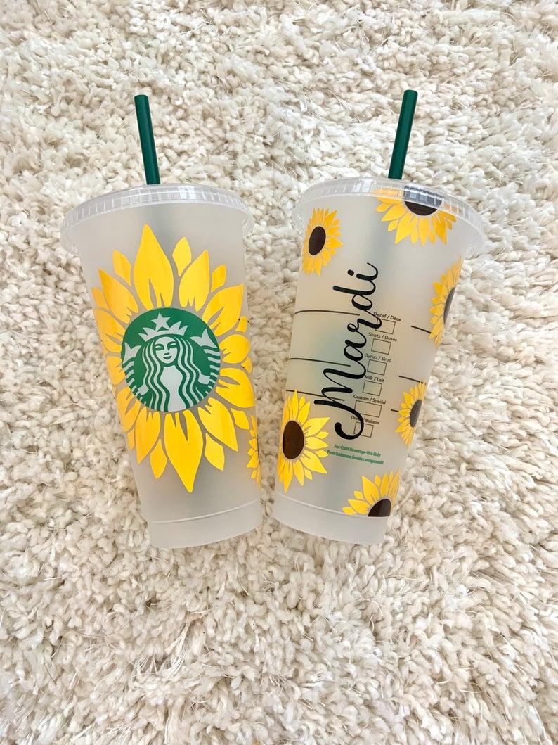 Sunflower customized starbucks cup