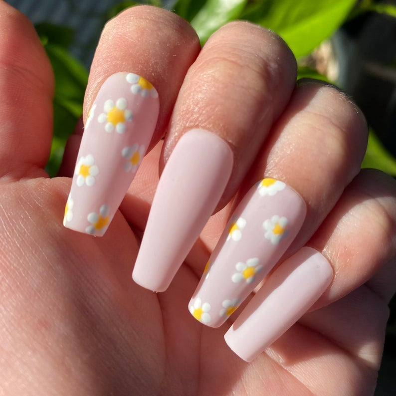 Soft pink matte nails with daisies