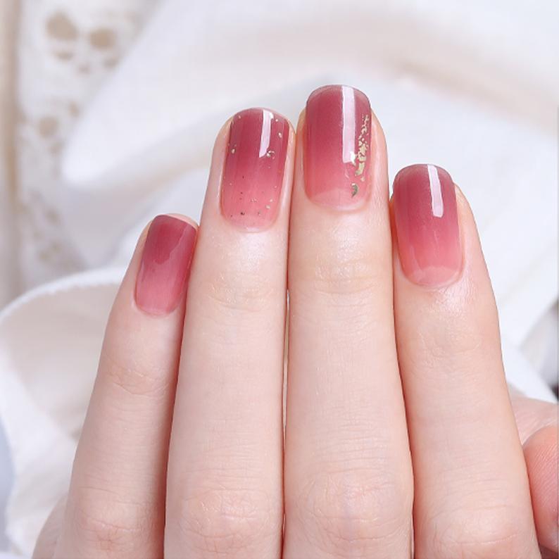 Pinkish gel nails