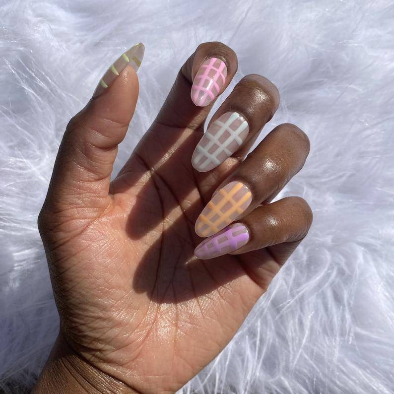 Almond nails with checkered pattern