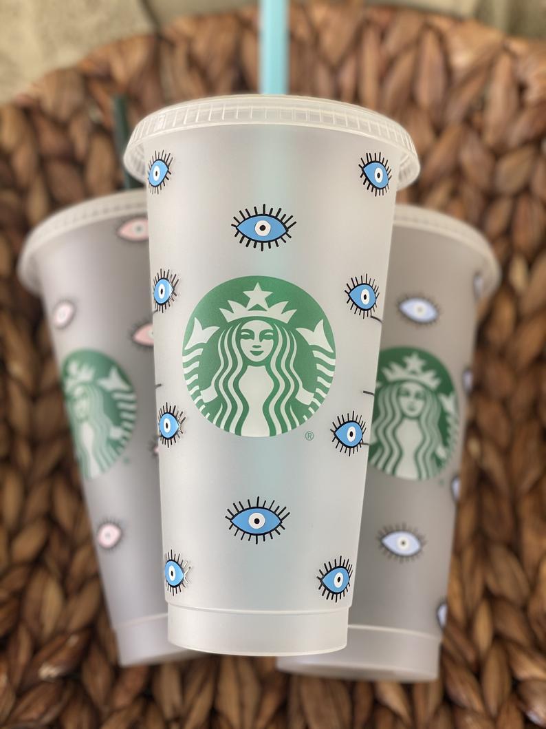 Evil eye customized starbucks cup