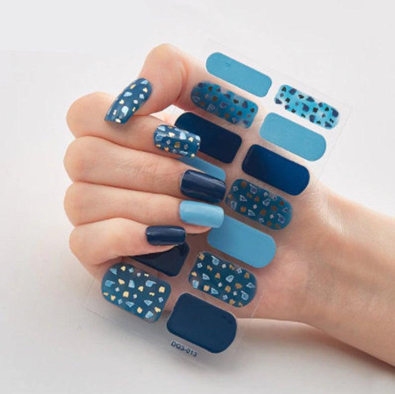 blue nail wraps