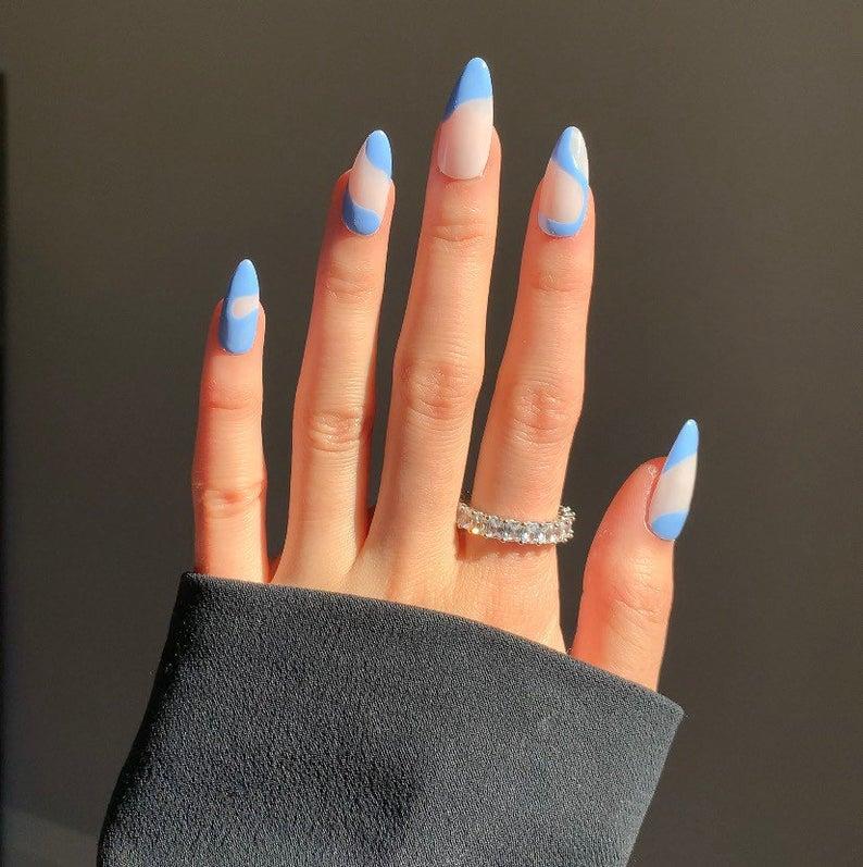 Wavby blue almond nail design