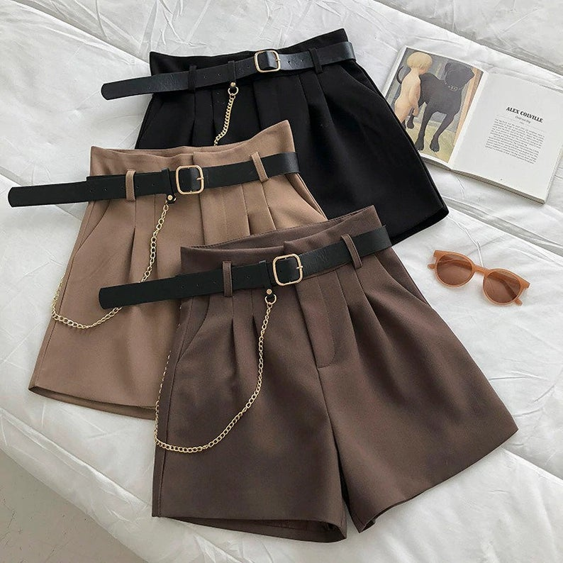High-waisted tailored shorts for dark academia outfits
