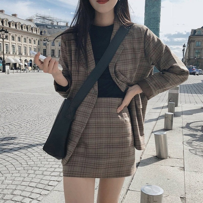Plaid blazer and mini skirt set from Etsy for dark academia outfits
