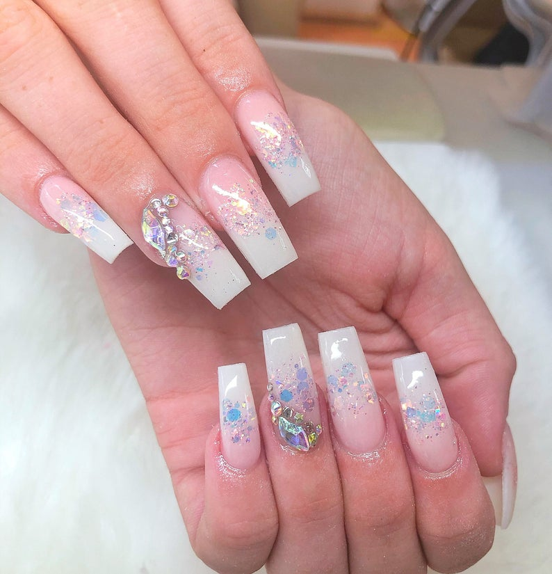 White and nude ombre with sparkles