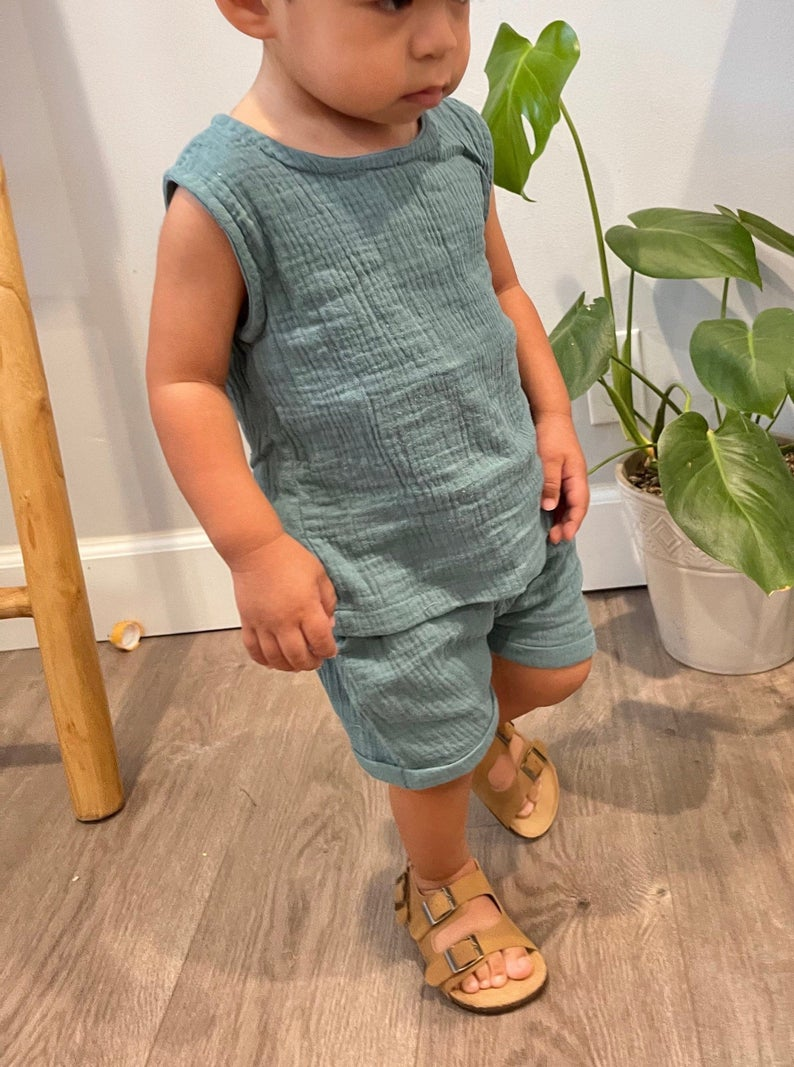 Sage green linen outfit set for baby boys