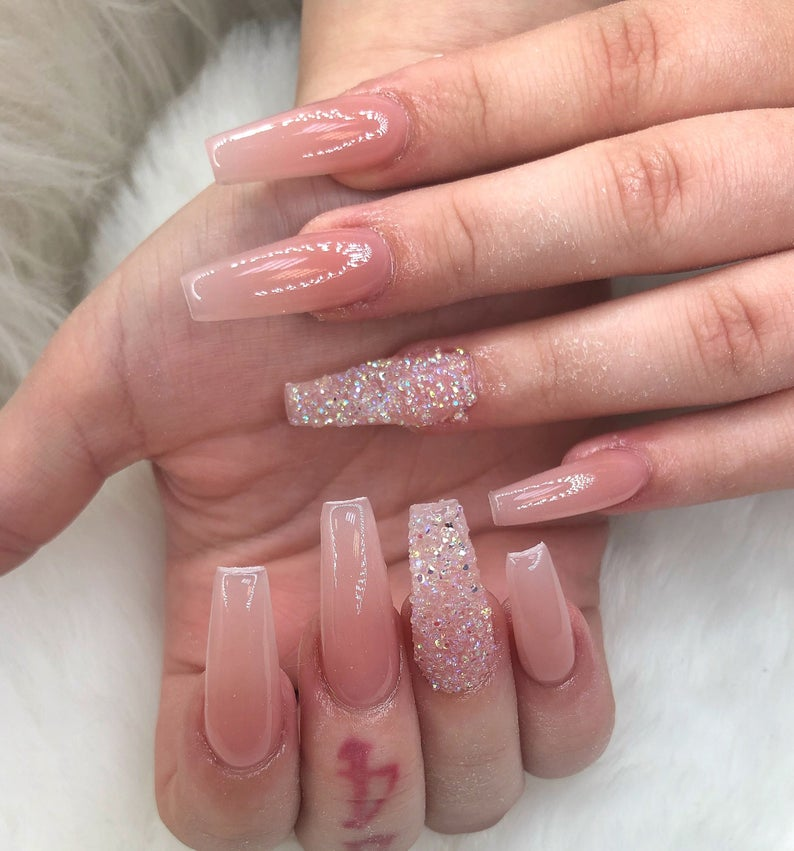 Clear nude nail design with rhinestones