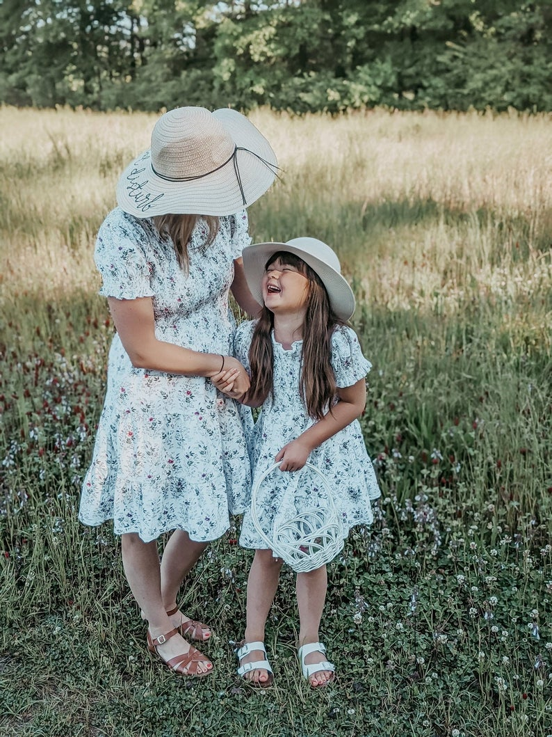 Floral patterned dress mommy and me outfit