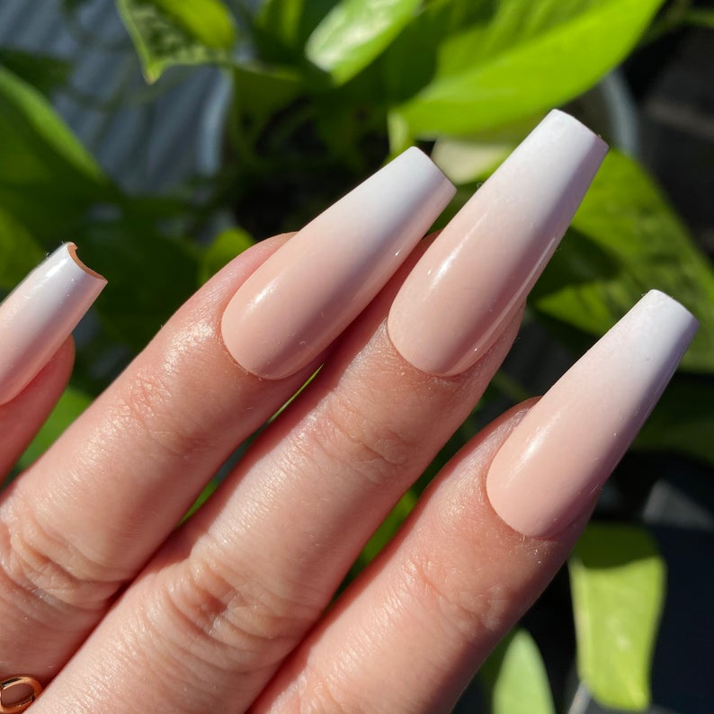 White and nude ombre nail designs