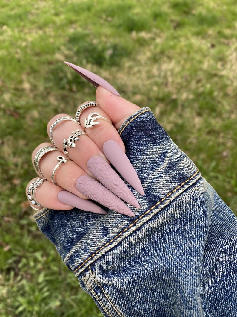 Matte mauve stiletto nails