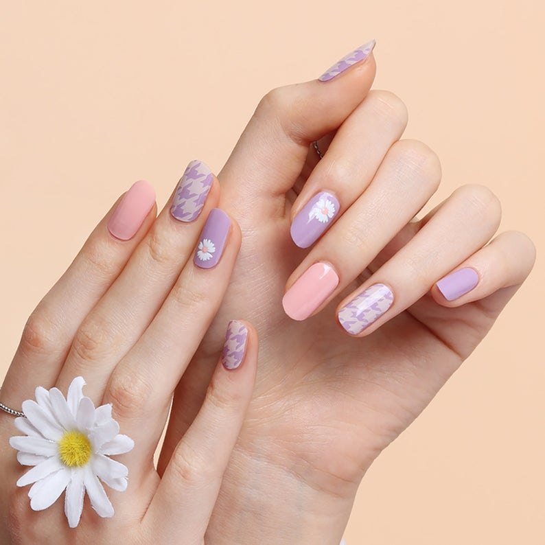 Pastel purple and pink nails