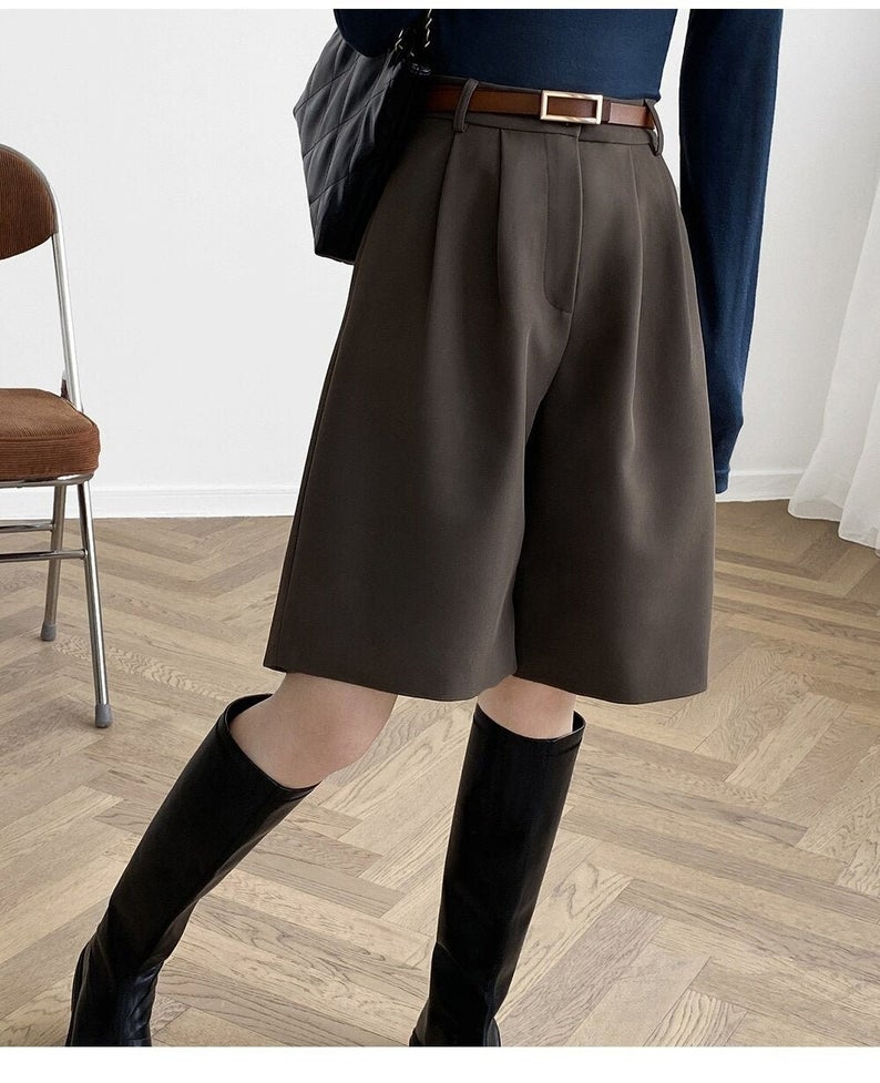 Tailored high waisted long shorts for dark academia outfits