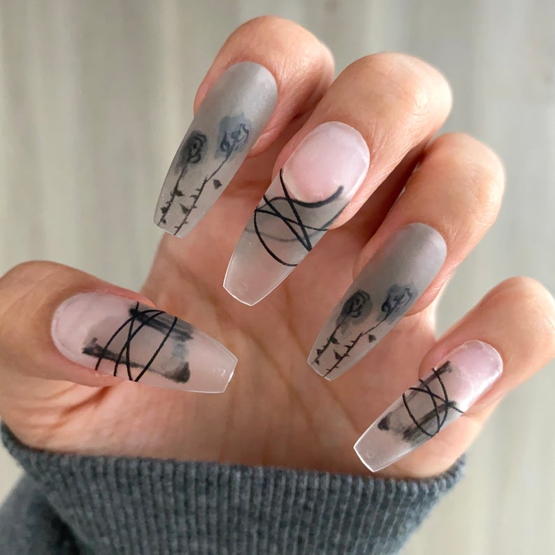 Frosted design for coffin nails